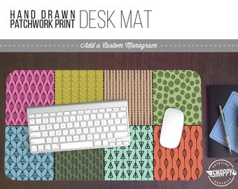 Hand Drawn Patchwork Print Desk Mat w/ Custom Monogram - 2 Sizes -  Office Desk Accessory - Extended Mouse Pad