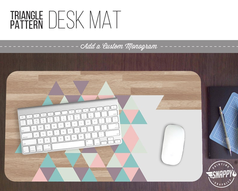 Pastel Triangle Wood Pattern Print Desk Mat w/ Custom Monogram image 0