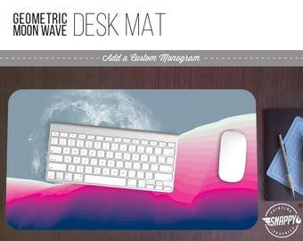 Geometric Moon Wave III Print Desk Mat w/ Custom Monogram - 2 Sizes -  Office Desk Accessory - Extended Mouse Pad