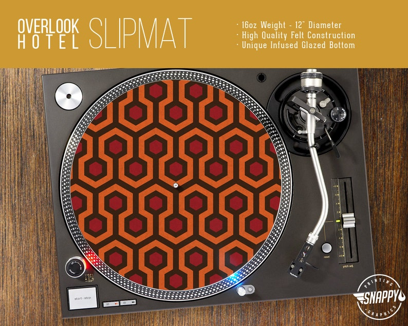 Overlook Hotel Pattern Turntable Slipmat DJ Slipmat 12 LP Record Player 16oz Felt w Glazed Bottom