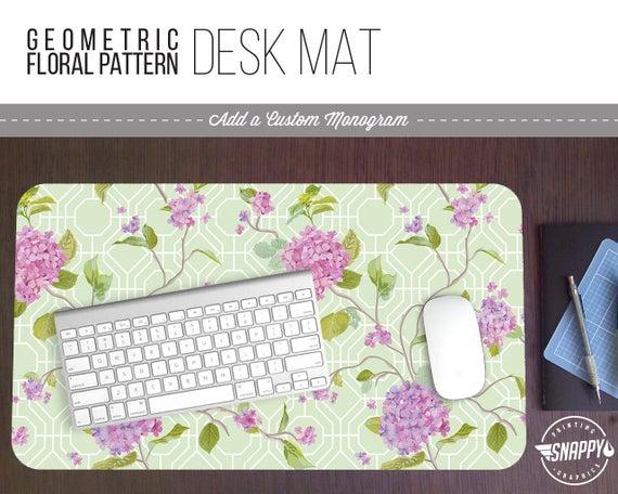 ab0796bd8b2eb Geometric Floral Pattern Desk Mat w  Custom Monogram 2 Sizes