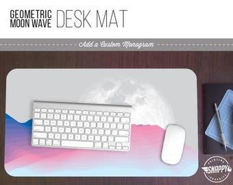 Geometric Moon Wave I Print Desk Mat w/ Custom Monogram - 2 Sizes -  Office Desk Accessory - Extended Mouse Pad