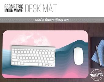 Geometric Moon Wave II Print Desk Mat w/ Custom Monogram - 2 Sizes -  Office Desk Accessory - Extended Mouse Pad