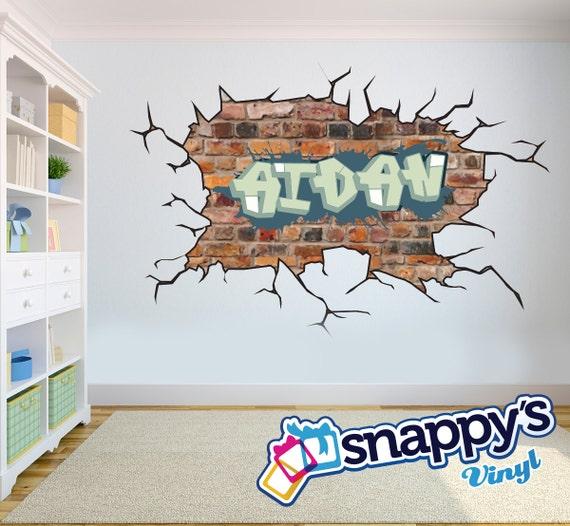 Ziegel Wand Graffiti Namen Stil Und Farbe Schema Wandtattoo Etsy