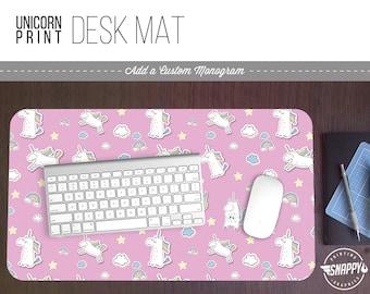 Unicorn Pattern Print Desk Mat w/ Custom Monogram - 2 Sizes -  Office Desk Accessory - Extended Mouse Pad