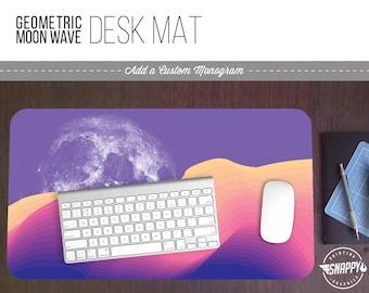 Geometric Moon Wave IV Print Desk Mat w/ Custom Monogram - 2 Sizes -  Office Desk Accessory - Extended Mouse Pad