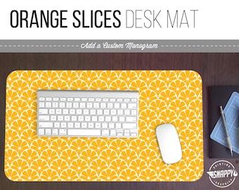 Orange Slices Pattern Print Desk Mat w/ Custom Monogram - 2 Sizes -  Office Desk Accessory - Extended Mouse Pad