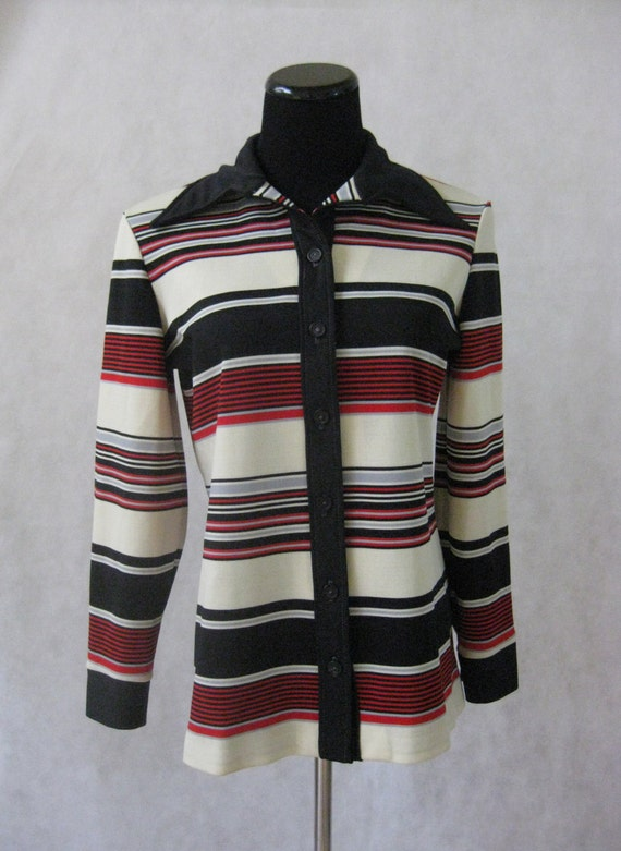 Size Jacket amp; Blouse Button Medium Red Vintage Black Horizontal Cream M Down Striped 70s Shirt qxSBw7PYB
