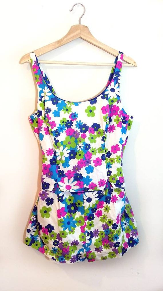 60s Swimsuit, Vintage Mod Floral Playsuit Size Med