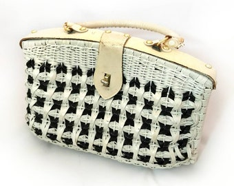 50s Basket Purse, Vintage White and Black Wicker Woven Handbag