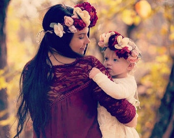Mommy and Me Winter Flower Crown - Custom Made - Mother Daughter Accessory - Photo Prop - Floral Headband