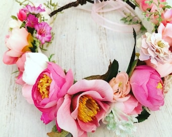 Adult Flower Crown - Custom Made - Floral Headband - Photo Prop- Tie Back Flower Crown