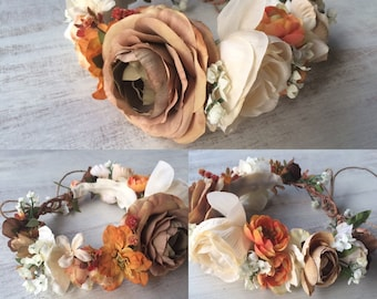 Adult Autumn Flower Crown - Fall Flower Crown - Custom Made - Autumn Inspired Accessory - Floral Headband - Photo Prop