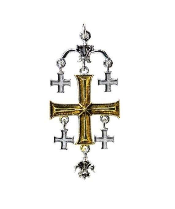Talisman Knights Templar Ritual Jewelry Occult Heraldic Seal Armor  Jerusalem Cross Pendant Amulet Shield Metaphysical Magick Masonic Christ