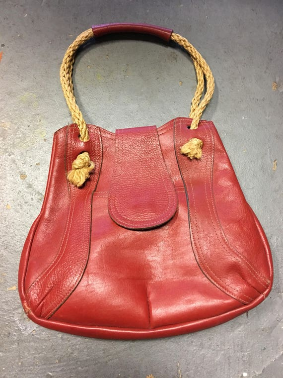 Vintage 1970's Brick Red Bag With Rope Handles