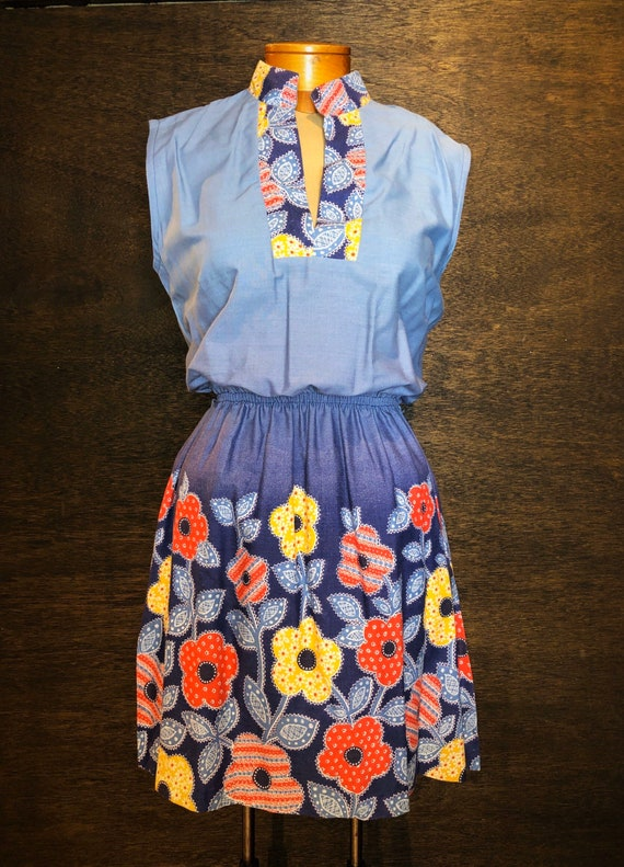 Darling Vintage Sears Bandana Print Chambray Dress