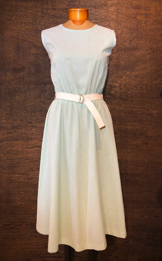 Sweet Vintage Mint Green Seersucker Dress