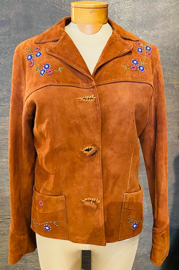 Vintage 1940's Suede Jacket With Beaded Detail