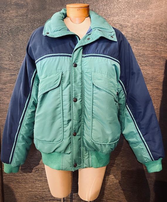 Vintage 80's Retro Navy Blue & Green Down  Ski Jac
