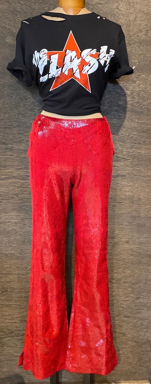 Vintage Red Glam Rock Faux Snakeskin  Bootcut Pant