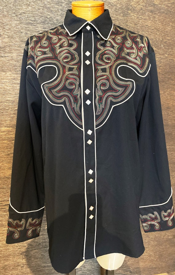 Vintage Scully Embroidered Western Pearl Snap