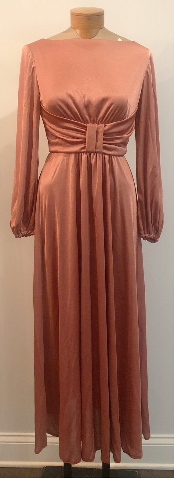 Vintage 1970's Mauve Long Sleeve Maxi Dress
