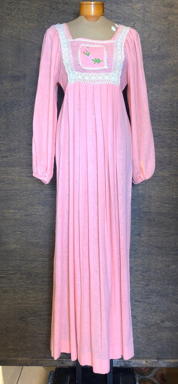 Beautiful 1970's Pink Boho Maxi  Dress
