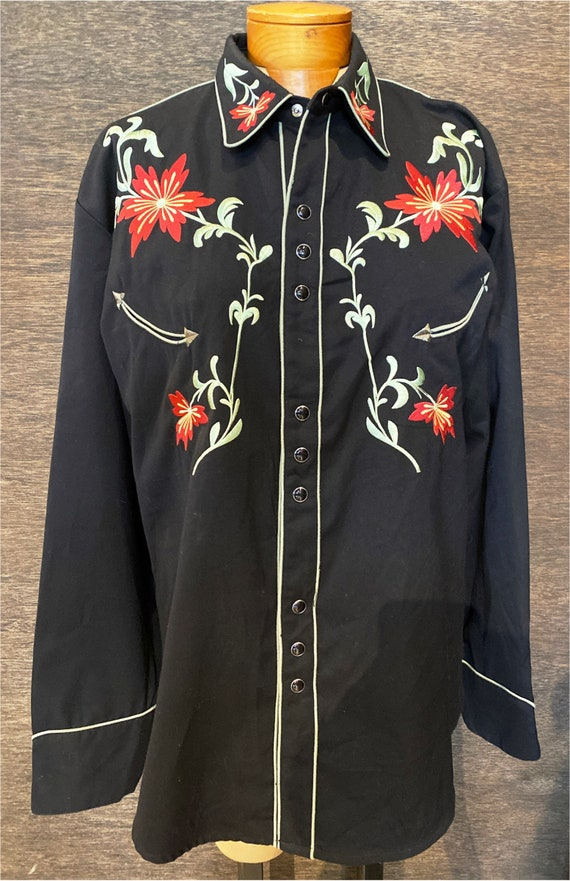 Vintage Scully Black & Red Western Pearl Snap