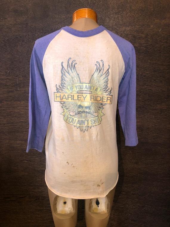 Rare Vintage 70's Harley Davidson Baseball Tshirt