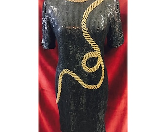 Vintage Black Sequins Dress With Bugle Beading Rooe Detail