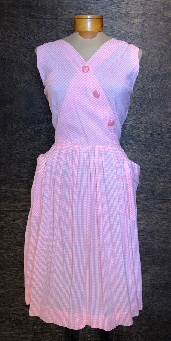 Sweet Vintage Pink & White Gingham Dress With Poc… - image 1