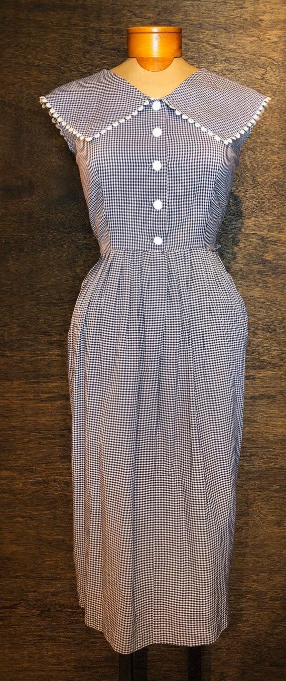 Sweet Vintage Navy & White Gingham Dress