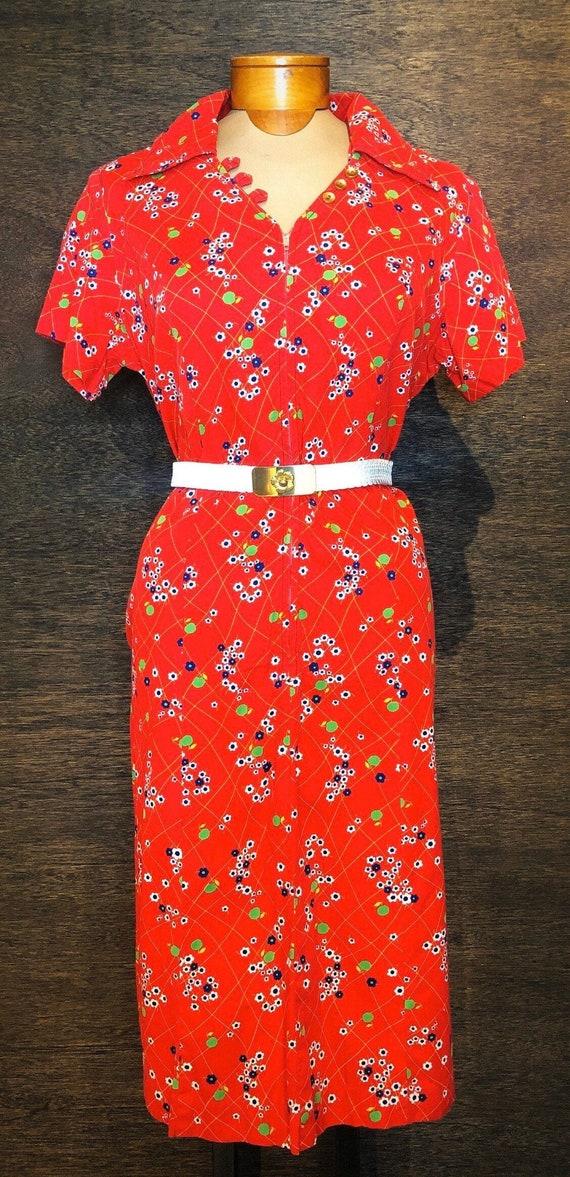 Vintage Red Cherry Blossom Dress