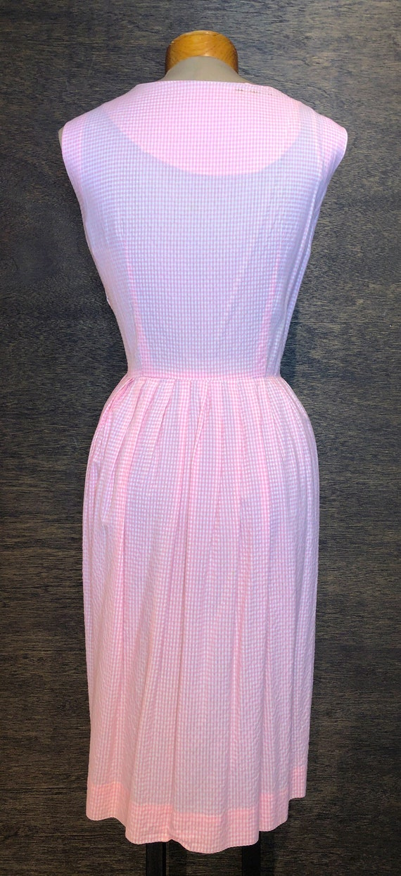 Sweet Vintage Pink & White Gingham Dress With Poc… - image 2