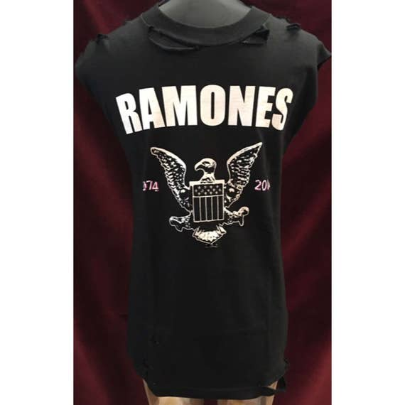Custom  Distressed Ramones Tshirt