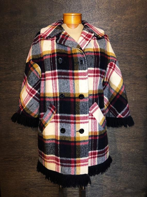 Beautiful Womens 70s Vintage Plaid & Fringe Coat