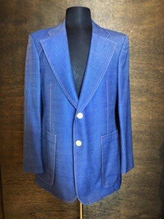 Men's Vintage 1970's  Denim Blue Blazer Sports Jac