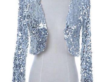 Vintage Silver Sequins Bolero Jacket