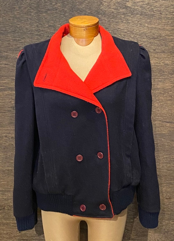 Awesome 80's Vintage Navy & Red Double Breasted Ja