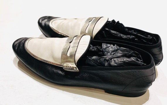 Men's Vintage Black & White Gucci Loafers With Sil