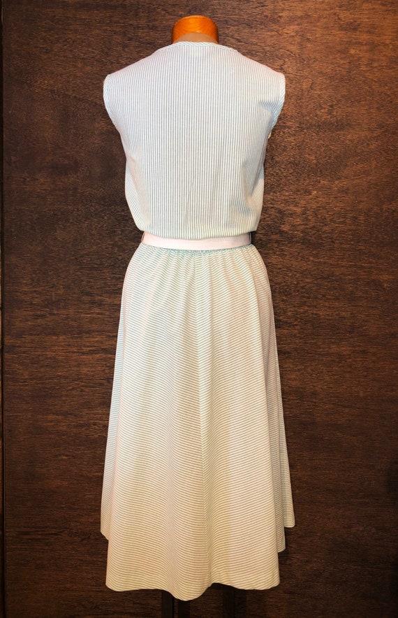 Sweet Vintage Mint Green Seersucker Dress - image 2