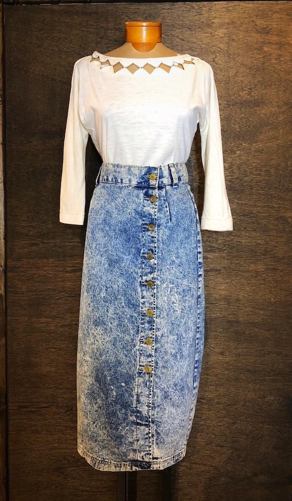Vintage 1980's High Waisted Acid Wash Denim Skirt