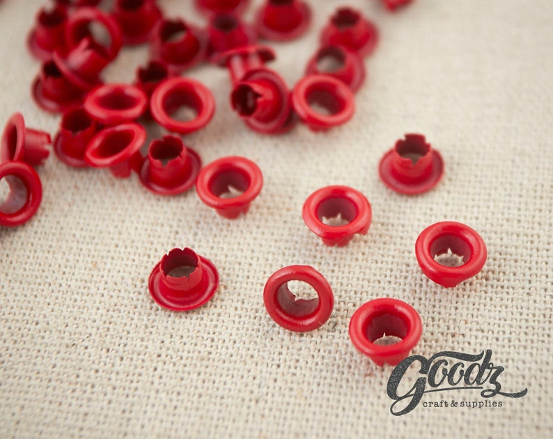 x200PCS Hole round Eyelets  4mm  RED matte  Red Grommet  Small Grommet  4mm Grommets