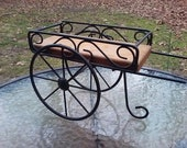 Metal Wood Cart Plant Holder Table Display Rack Stand Home Decor Sculpture