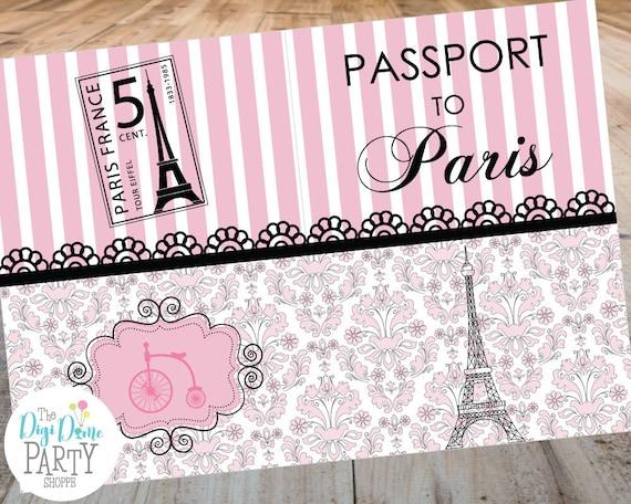 Paris Passport Party Printable Invitation Template 5x7in