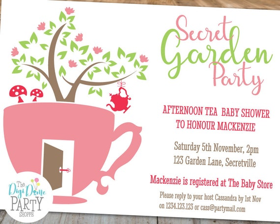 secret garden tea party printable party invitation template 5x7in