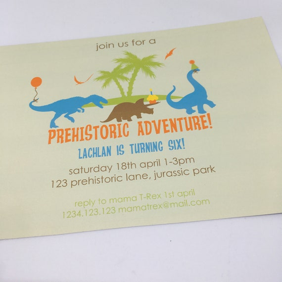 Prehistoric Dinosaur Party Printable Invitation Template 5x7in