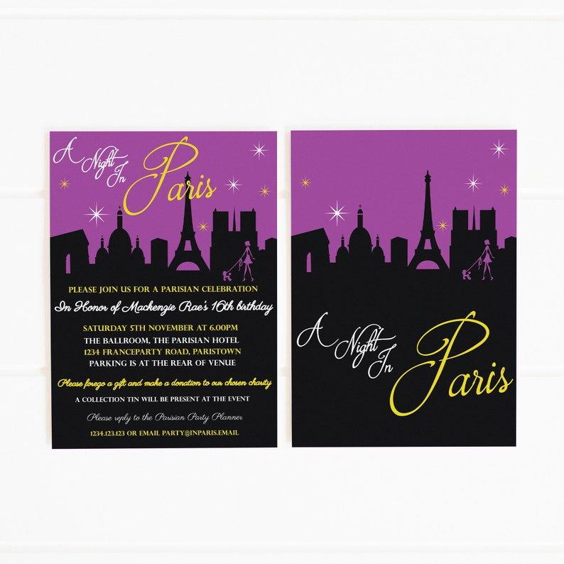 A Night In Paris Party Printable Invitation Template 5x7in