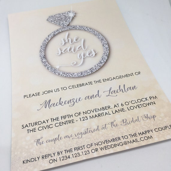 She Said Yes Engagement Party Printable Invitation Template, 5x7in - Silver and Gold - Double-Sided - Instant Download