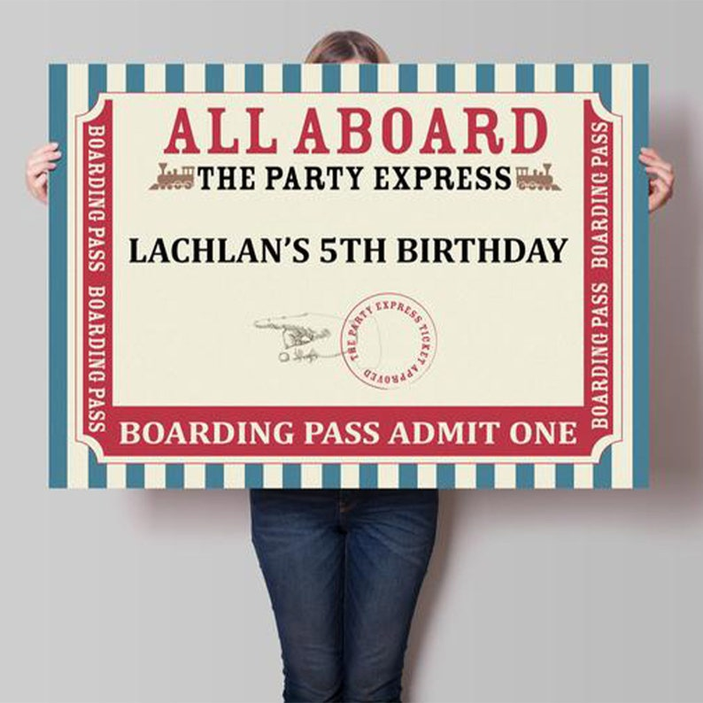 Instant Download Vintage Railway Train Party Printable Backdrop Template A0 Size Red and Blue Boys Birthday Parties